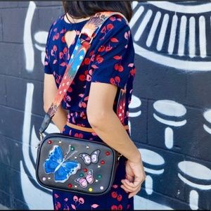 Embroidered Butterfly Crossbody Bag